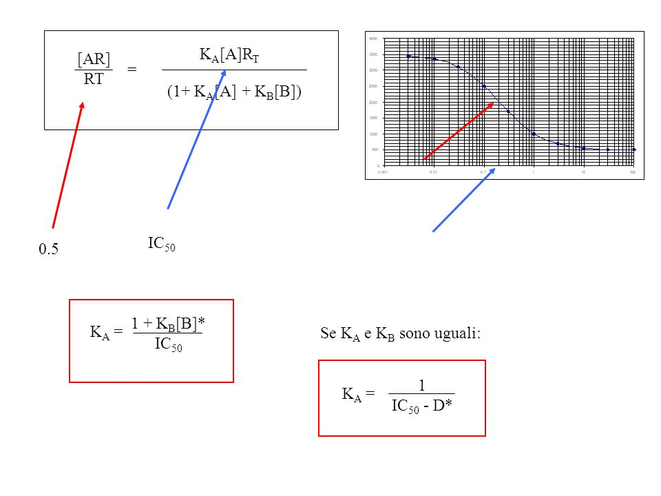[AR] RT. KA[A]RT. (1+ KA[A] + KB[B]) = IC50. 0.5. KA = 1 + KB[B]* IC50. Se KA e KB sono uguali: